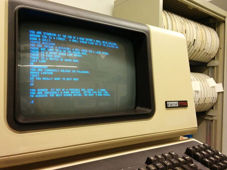 Colossal Cave Adventure running on a PDP-11/34, displayed on the minicomputer's VT100 serial terminal (COURTESY Autopilot/Wikipedia)