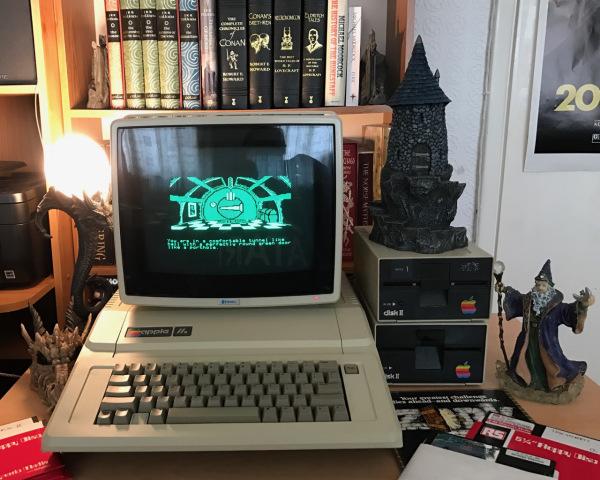 """Stuart Williams' Apple IIe running 'The Hobbit' from 5.25"""" floppy disk"""