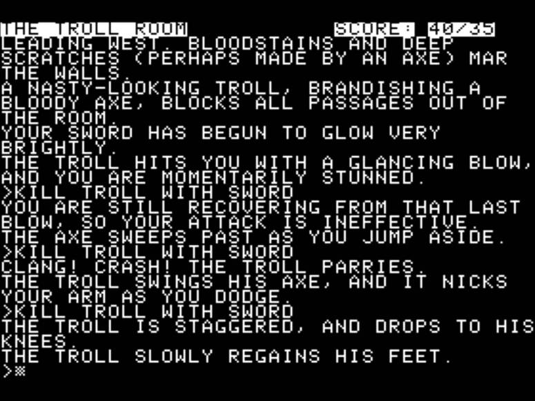 Trouble with a troll in Zork I (Apple II)